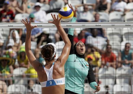 Egypt beach volleyball player in hijab gets Brazilian support