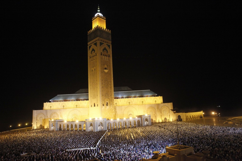 The faithful pray on the esplanade of the Hassan II Mosque on Laylat al-Qadr during the holy month of Ramadan, in Casablanca