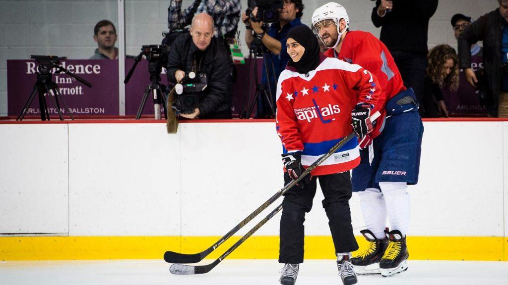 Washington Capitals workout Arab female hockey star
