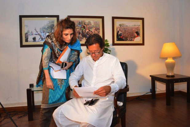 Andleeb Abbass, Secretary of Information-PTI Punjab, speaks to the party chair, Imran Khan.