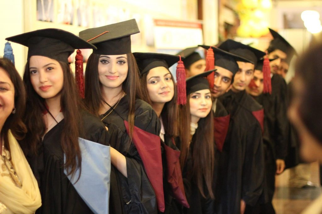 Graduating class from The Millennium University College in Pakistan.